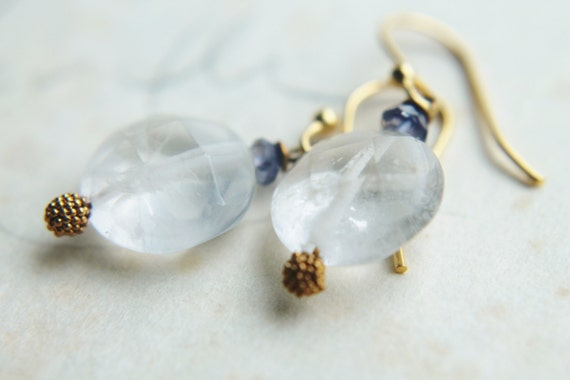ON-HOLD. Moonstone Earrings with Iolite and 14k Gold. White Gemstone Earrings. Winter Jewelry. Simplistic Blue and White Jewelry.