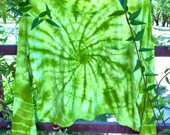 Bright Chartreuse Delicate Star Pocket Tee