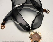 Mixed Metalwork Sterling Silver/Copper Rose Quartz Pendant/Choker/Necklace
