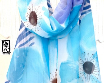 Watercolor Silk Scarf, Hand Painted Blue Silk Scarf, Aqua Blue and Blue Purple Floral Scarf. Silk Chiffon Scarf. Spring Fashion. 11x59 in.