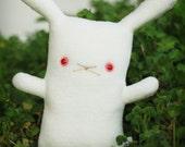 "White rabbit stuffed animal, bunny toy, Red eye bunny gift, Bunny rabbit plush doll, 12"" tall  White with Ruby Eyes REW, kawaii cute plushie"