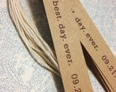 Kraft Wedding Tags BEST DAY EVER Simple Favor - set of 10