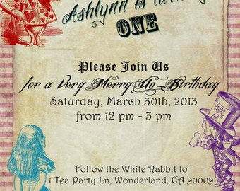 Vintage Alice in Wonderland Birthday Invitation