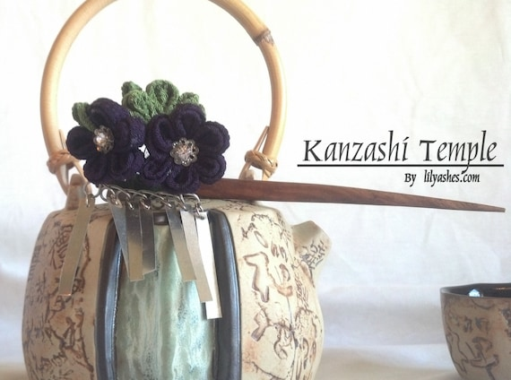 Midnight Purple Kanzashi Hair Stick with Bira Bira