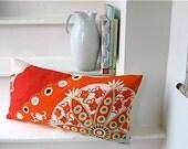 Vintage Silk Kimono Pillow - Mosaic like Red and Orange Floral - 12 x 24 - Free Shipping