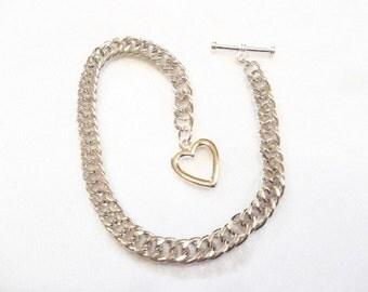 Valentine Heart Charm Bracelet Silver Jewelry