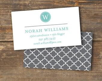 Business Card - Quatrefoil Monogram - Pretty with a Pattern - Printable