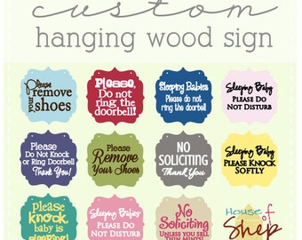 custom wording/design hanging wood sign