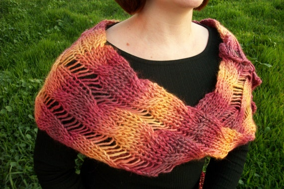 Infinity Scarf/Wrap: Chunky Cable Knit in Red, Orange, Yellow with Wooden Buttons