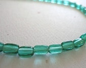 Czech Green Translucent Tube Four Sides Flat 5x3mm Beads 50 Pieces (A017)