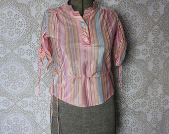 Women's Vintage 1970's Pink and Blue Stripe Shirt with Banded Collar Medium