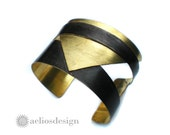 Cuff Bracelet Textured Gold and Blackened Brass Finish -  Statement Triangle Cut Out Cuff