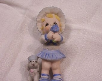 Little Girl Figurine Girl with Posies and Puppy VINTAGE Bisque Collectors Circa 1970s