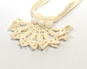 Ecru Hand Crochet Necklace