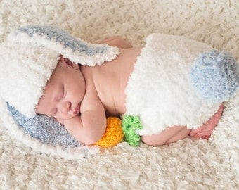 Bunny Rabbit Hat and Diaper Cover Set with Amigurumi Carrot Newborn Photo Prop Blue Baby Boy Easter Photos