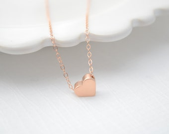 Rose Gold Heart Necklace - rose gold necklace with rose gold heart -1116