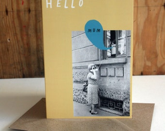 SALE - Mother's Day - Hello Mum Telephone Eco Friendly Welsh Art Greeting Card