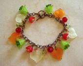 Spring Garden Veggie Mix, Orange Green Red Yellow Lucite Flower Beaded Charm Bracelet
