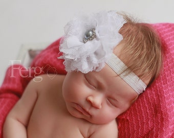 """White and Grey Lace Fluff Flower Headband 4"""" flower- large flower headband- baby flower headband- grey and white headband"""