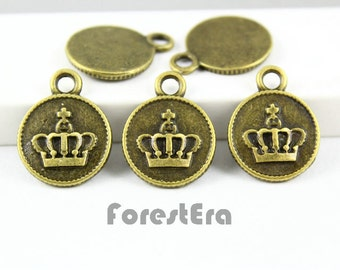 15Pcs 15mm Antique Brass imperial crown Charm Pendant (PND034)