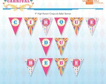 Vintage Circus Carnival Printable Cirque du Bebe Banner - Pink & Aqua - DIY Print - Do-It-Yourself - Instant Download