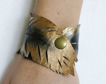 Feather Cuff, Gold Black Feather Cut Out Bracelet, Faux Leather Hand Painted, Handmade, Gifts for Her