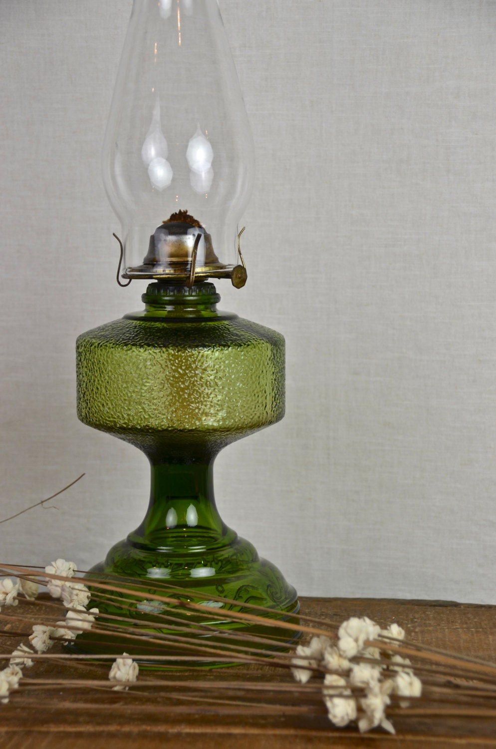 Olive Green Vintage Glass Oil Hurricane Lamp