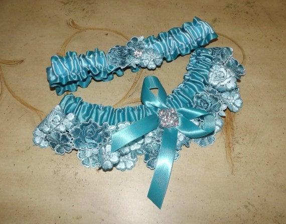 Tiffany Wedding Garter/Turquoise LACE WEDDING GARTER Set/ Bridal Garter Set/Something Blue/Beach Wedding Garter