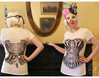 Clearance - Victorian Corset Tshirt - Womens xLARGE  tee - IVORY - Off White