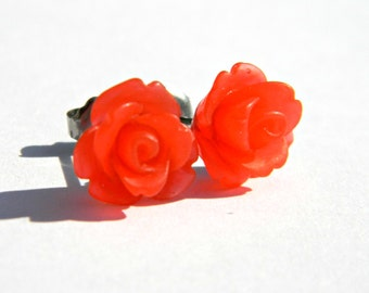 Cherry Red Earrings  10mm Matte Translucent Frosted Rose Cabochon Titanium Stud Earring Pair  Hypoallergenic Jewelry  Retro
