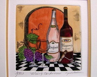 Original Etching, Wine and Corkscrew, signed by L. Cullers