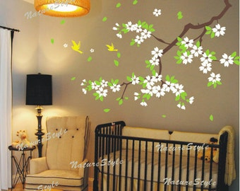 blossom with Flying Birds -Vinyl Wall Decal,pink flower, wall decal tree nursery wall decal baby wall decal children wall decal