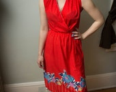 1970s Sundress Wrap Dress with Tie Belt Red Floral