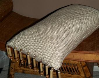 Lumbar Pillow with Wood and Bamboo Bead Fringe