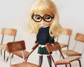 Miss yo hand-knitted Bat-Wing Sleeve Sweater for Blythe doll - doll outfit - Deep Blue