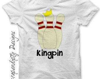King Pin Iron on Shirt - Bowling Iron on Transfer / Mens Bowling Shirt / Kids Birthday Party Favor / Toddler Bowling Kingpin Shirt Tee IT188