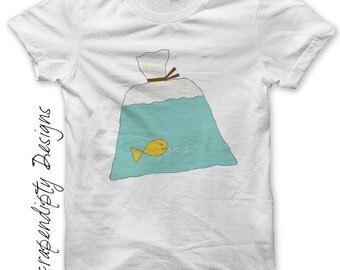 Fish in a Bag Iron on Transfer - Carnival Iron on Shirt PDF / Kids Boys Clothing Tops / Toddler Fish Shirt / Baby Clothes / Printable IT38-C