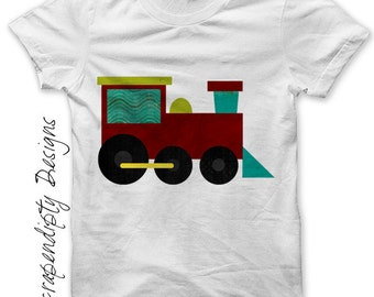 Iron on Train Shirt PDF - Transportation Iron on Transfer / Kids Boys Clothing Tops / Toddler Train Birthday Party / Baby One Piece IT228