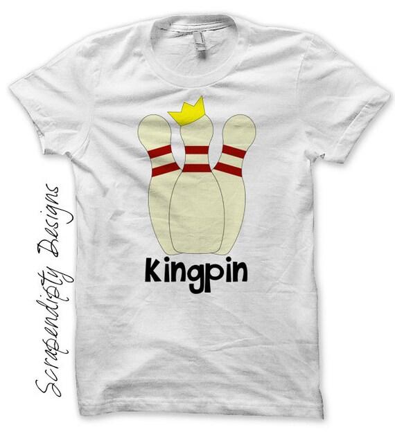 King Pin Iron on Shirt - Bowling Iron on Transfer / Mens Bowling Shirt / Kids Birthday Party Favor / Toddler Bowling Kingpin Shirt IT188-P