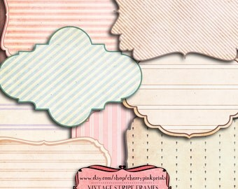 Digital frames, stripe png clipart scrapbook frame clip art, png files for scrapbooking, tags and labels
