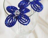 Beaded ROYAL BLUE Bridal Bling Hair Pin with Crystal Center, Bling for Brides, Flowergirls, Bridesmaids
