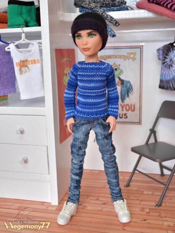 Pullip Momoko Monster High Boy 27 cm Obitsu doll size worn washed blue denim jeans pants
