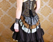 "Full Victorian Steampunk Ensemble - 8 pc Set - Espresso & Light Blue - Fits Waist 27""-29"" - VeneficaCorsetry"