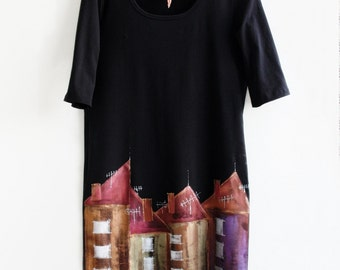 Dress, Tunic, Hand Painted, Black Cotton Dress, Tunic, Size L