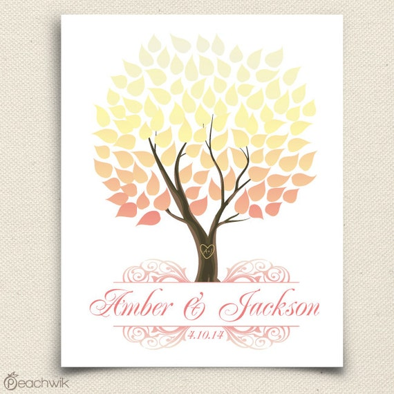 Unique Wedding Guest Book - The Seaswik - A Peachwik Interactive Art Print - 100 guests -  Spring Wedding Tree