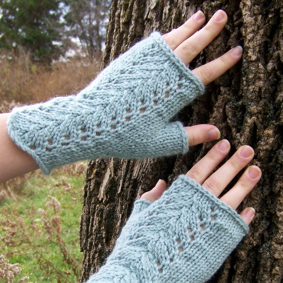 Lace Mittens Knitting Pattern : Fingerless Gloves Knitting PATTERN PDF Knitted Fingerless