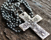 Solid Bronze Rustic Mens Cross Necklace - Men's Gift On Dark Sterling Silver Chain
