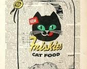 CAT FOOD Cat Print Black Cat Dictionary Cat poster mixed media animal Cat illustration drawing