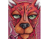 Original ACEO Red Dog with Pipe,