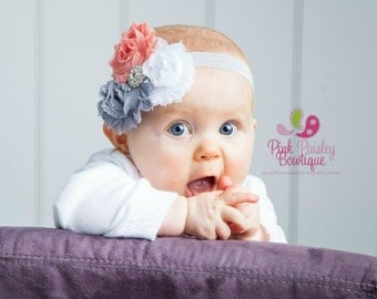 Baby Headbands - Triple Shabby Chic Headband - Infant Headbands - Baby Girl Headbands - Baby Hair Accessories - Toddler Headbands